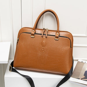 "Women laptop 14"" Briefcase Bag Leather Fashion Zipper business designer Handbag"