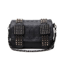 Load image into Gallery viewer, New Leather Handbag Women Rivet Shoulder Skull Crossbody Casual Chain Black