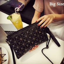Load image into Gallery viewer, Fashion patchwork PU leather Envelope bag small Rivet clutch purse black