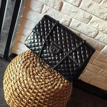 Load image into Gallery viewer, PU Leather Satchel Diamond Lattice Large Bag Women Black Shoulder Crossbody Tote