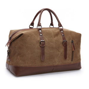 20-30L Men's Travel Canvas Leather Bag Large Luggage Tote Sports Gym Brown New