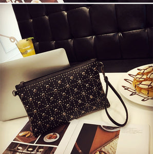 Fashion patchwork PU leather Envelope bag small Rivet clutch purse black