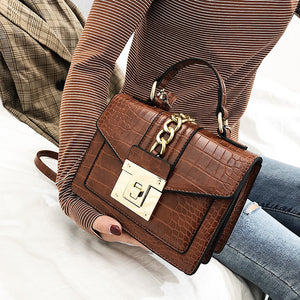 Fashion Alligator Women Shoulder Bags Chains Handbags Casual Pu Leather Small Brown