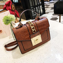 Load image into Gallery viewer, Leather Shoulder Bag Women Snake Skin Pattern Square Handbags Messenger Hobo New
