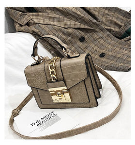 Leather Shoulder Bag Women Snake Skin Pattern Square Handbags Messenger Hobo New