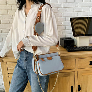 3 in 1 Leather Chain Bag Women Designer Handbags Shoulder Crossbody Purse
