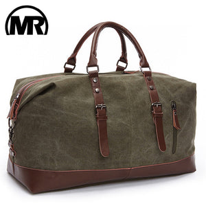 Fashion Canvas Travel Bag Leather Large Luggage Casual Tote Bag Sports Gym Brown