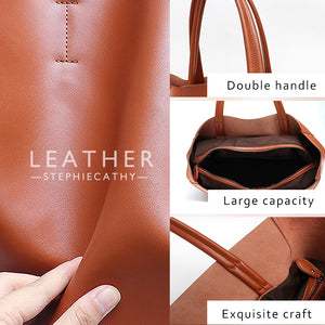 Genuine Leather Tote Bag Women Fashion Shoulder Large Brown Crossbody Casual