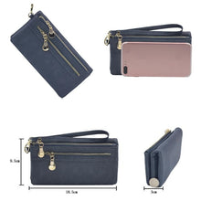 Load image into Gallery viewer, Women Long Leather Wallet Double Zipper Clutch Purse Wristlet Credit Card Photo