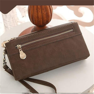 Women Long Leather Wallet Double Zipper Clutch Purse Wristlet Credit Card Photo