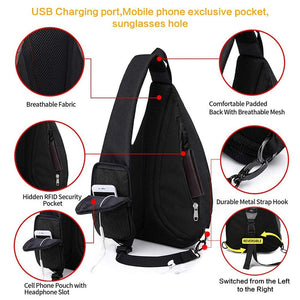 "Shoulder Backpack Bags10.5"" iPad USB Women Crossbody Anti theft Chest Bag large"