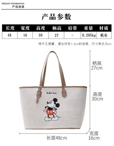Disney Canvas Handbags Women's Large Shoulder Crossbody bags Tote Cartoon Mickey