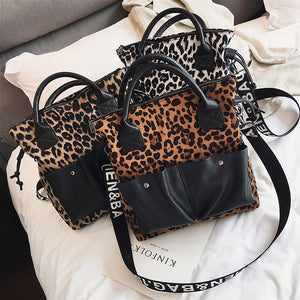 Oversized Leather Handbags Fashion Leopard Print Bags Women's Large Shoulder