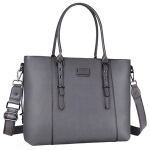 "Women Laptop Briefcase 15.6"" Tote Bag Pu Leather Shoulder Water Resistant Black"