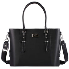 "Load image into Gallery viewer, Women Laptop Briefcase 15.6"" Tote Bag Pu Leather Shoulder Water Resistant Black"