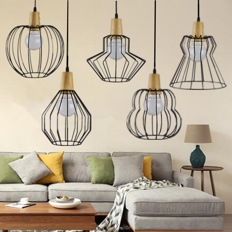 Vintage Wood and Iron Pendant Light - Driftly,  - Driftly
