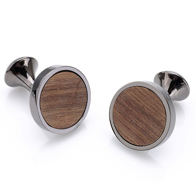 Simply Round Wood Cuff Links - Driftly, Cufflink - Driftly