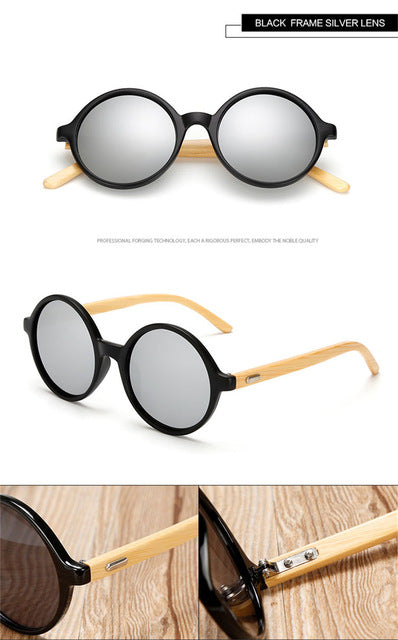 LongKeeper Round Sunglasses Bamboo Women Men Sun Glasses Real Wood Foot Retro Vintage Wooden Eyewares 2017 New Brand Design - Driftly,  - Driftly