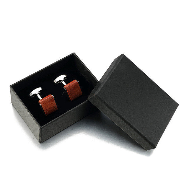 Square Rosewood Cuff Links - Driftly,  - Driftly