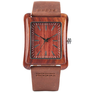 Minimalist Creative Wooden Watch Modern Mens Rectangle Dial Bamboo Leather Band Nature Wood Quartz Wrist Watch Reloj de madera - Driftly,  - Driftly