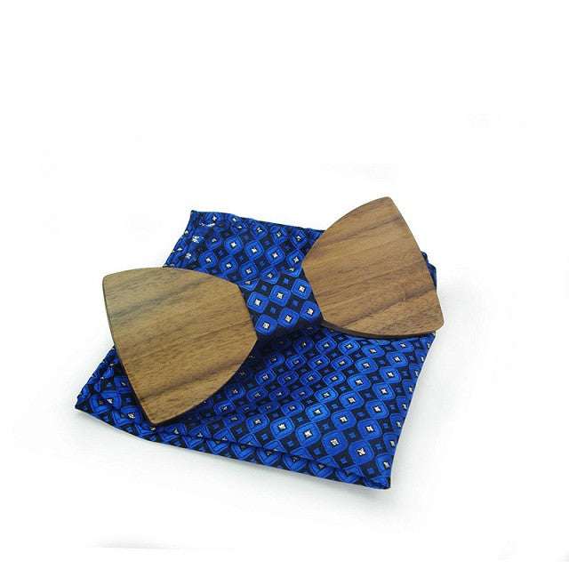 Wooden Bow Tie with Hankie - Driftly, Mens - Driftly