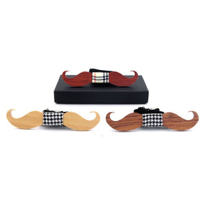 Moustache Wooden Bow Ties - Driftly,  - Driftly