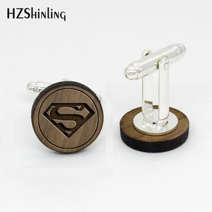 HZShinling Trendy Super Hero Wood Cufflink Handmade Round Walnut Cuff  Silver Cuffs Gifts For Men NW-0026 - Driftly,  - Driftly