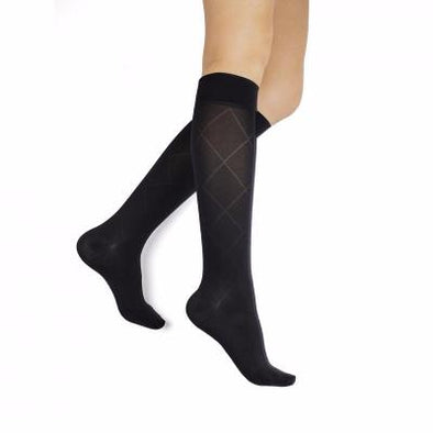 Rejuva Black Opaque Diamond Knee High 15-20 mmHg