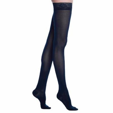 Soft Opaque Thigh High Support Stocking 15-20 mmHg midnight