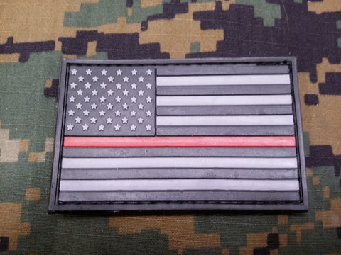Thin Red Line American Flag PVC Patch