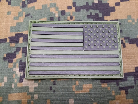 Reverse Flag OD Green PVC Patch