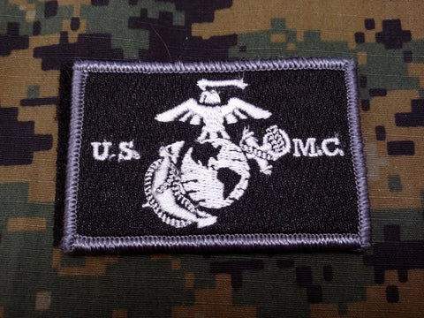 USMC Black and White Hook and Loop Patch