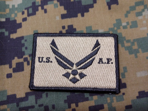 US Air Force FDE w/Black Border Hook and Loop Patch