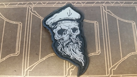 Skull Sailor Grey PVC Patch