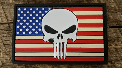 Punisher Skull on Flag PVC Patch