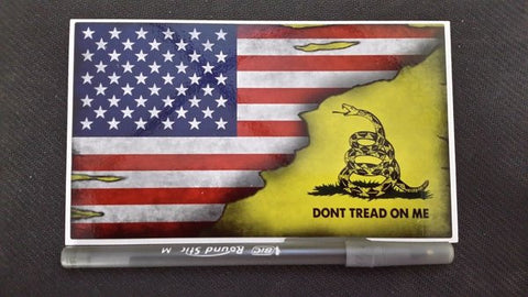 American/Gadsden Flag Distressed Vinyl Sticker