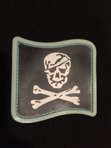 Pirate Flag Blue Border PVC Patch