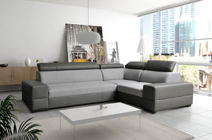 Bolazo Corner Sofa Bed Left Corner in Cayenne 1119 (grey) eco Leather