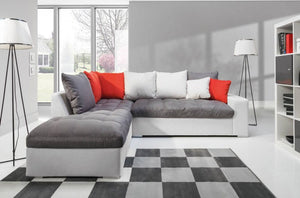 Port Corner Sofa Right or Left Corner Grey with dark pink cushions