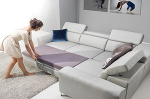 Geno Corner Sofa Bed Right Corner in Dark Grey Eco Leather