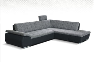 Danielle Corner Sofa Bed Left Corner Grey and Dark Bottom