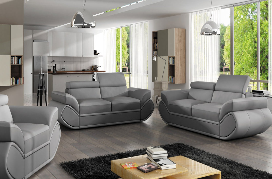 Genesi Sofa 3 Seater Grey Eco Leather