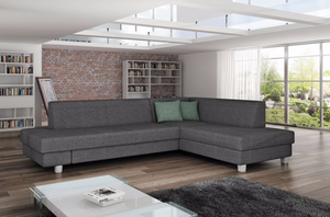 Lorna Corner Sofa Bed Right Corner Colour Cayenne 119 Grey Eco Leather