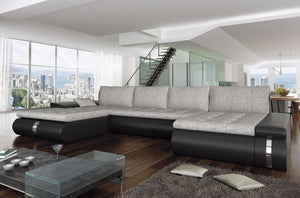 Lux RIGHT corner sofa bed all in SUN 91 light grey