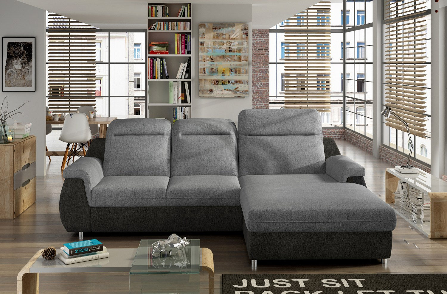 Manero Mini Corner Sofa Bed Right Corner all Light Grey Fabric