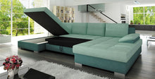 Nela Max RIGHT corner sofa bed base black eco leather seating area grey fabric