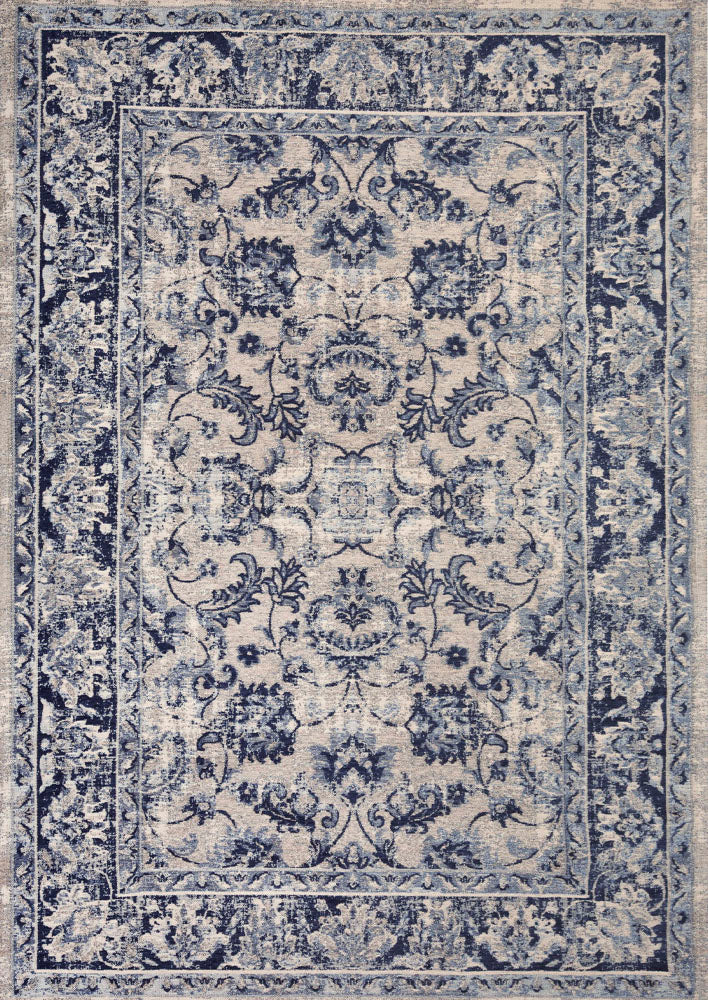Teb Antique Blue Easy Clean Rug
