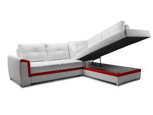 Vero Corner Sofa Bed Right Corner seating area Eco Leather Cream and base Eco leather Mocca