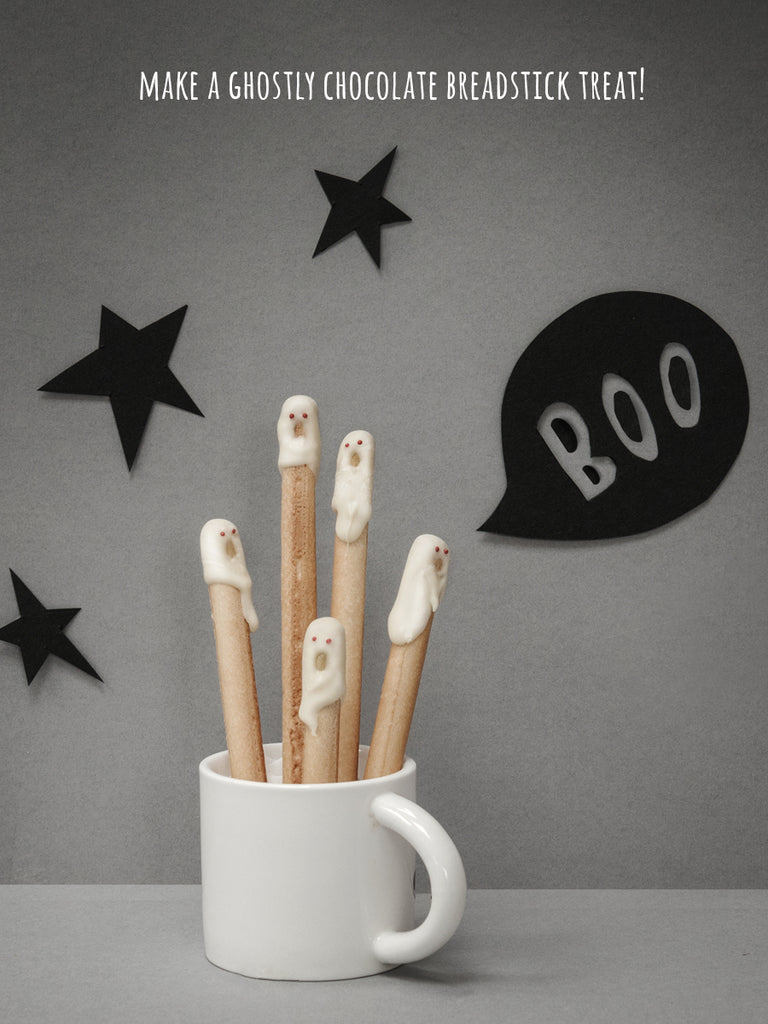 make a ghostly chocolate breadstick treat!