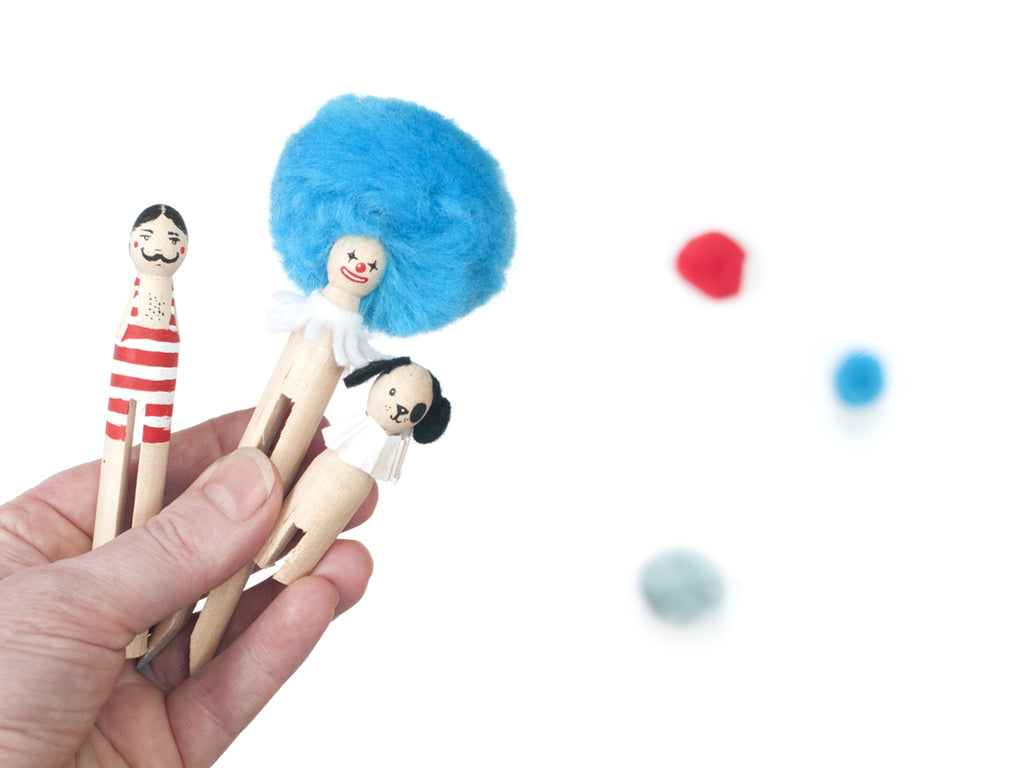 Strongman, clown and circus dog for circus pegdoll tutorial DIY by Red Hand Gang